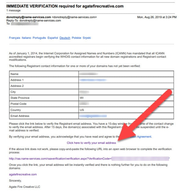 Email IMMEDIATE VERIFICATION required for domain - Yes it is legit
