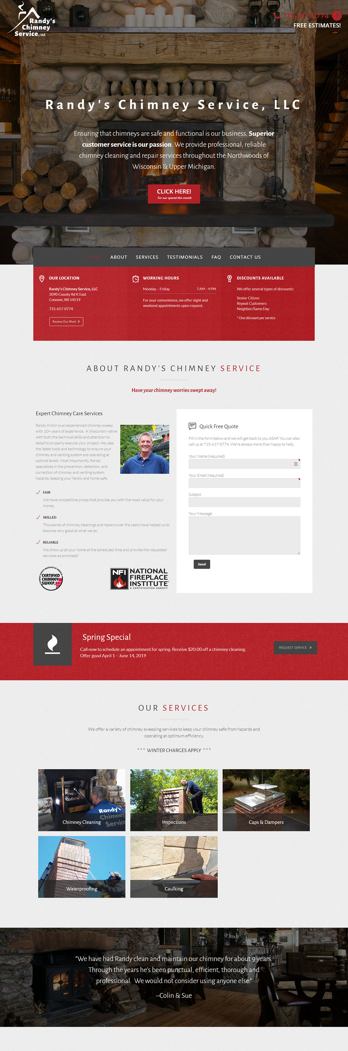 Randy's Chimney Sweep one-page WordPress web design