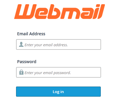 Webmail login screen